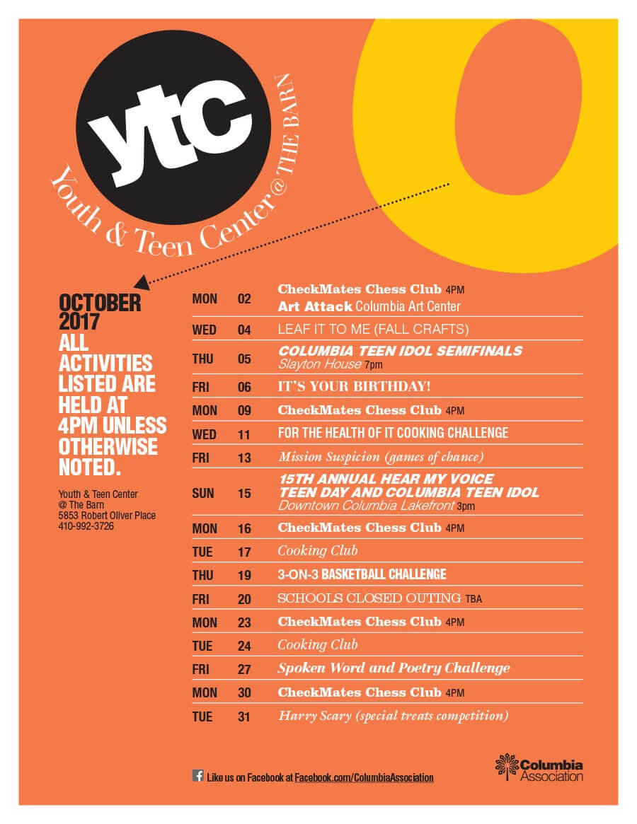 YTC October Events Flyer