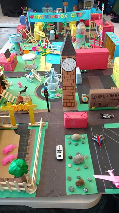 Art project of ideal cities in the future made by kids
