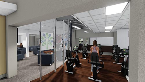 depiction of renovated columbia athletic club's lounge wall