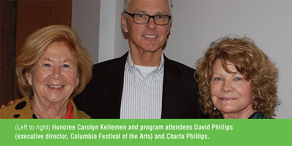 Honoree Carolyn Kellemen and program attendees David Phillips and Charla Phillips