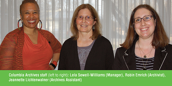 Archive staff Lela Sewell Williams, Robin Emrich and Jeannette Lichtenwlaner