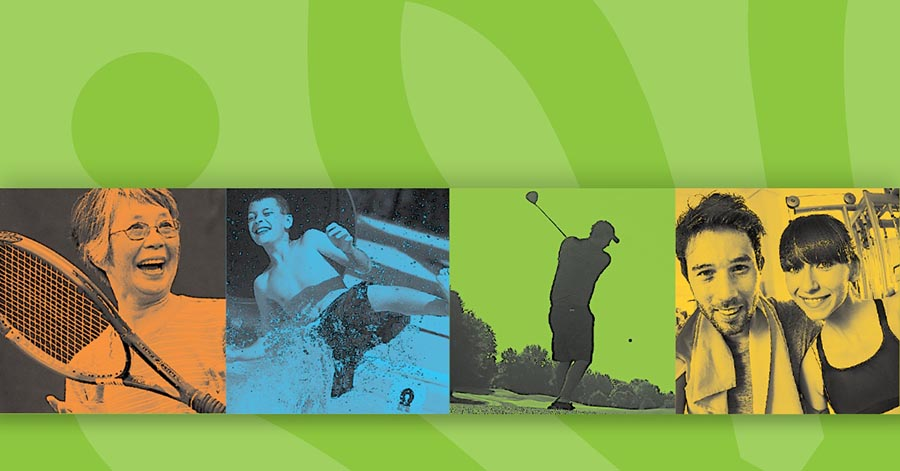 Banner image with people playing varies sports